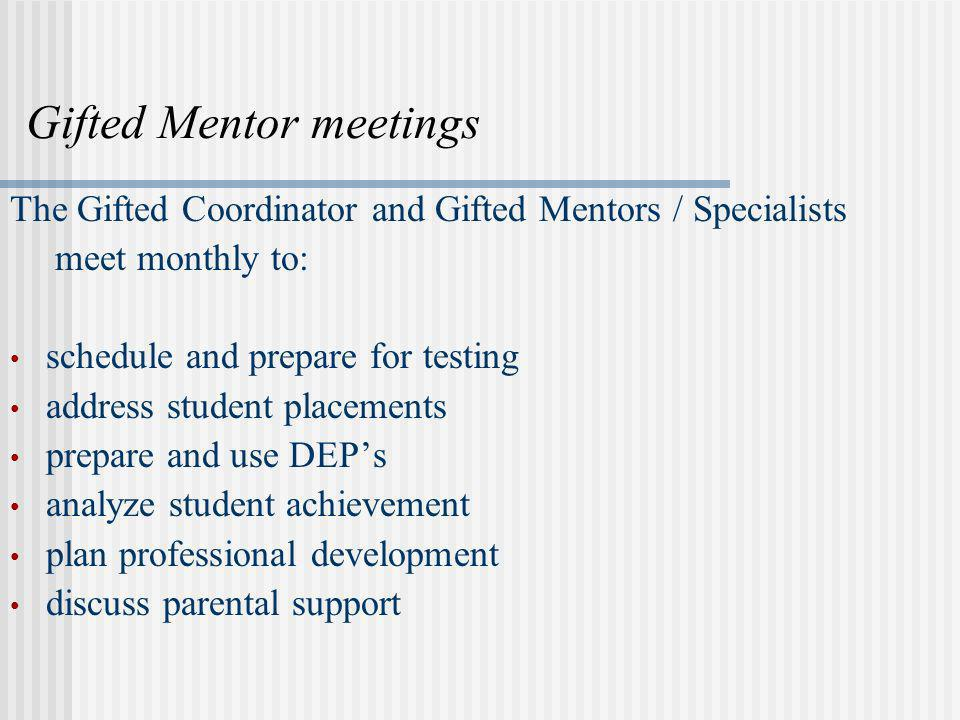 Gifted Mentor meetings