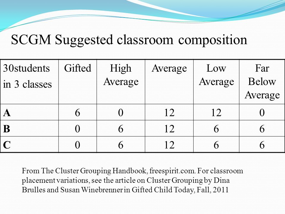 SCGM Suggested classroom composition