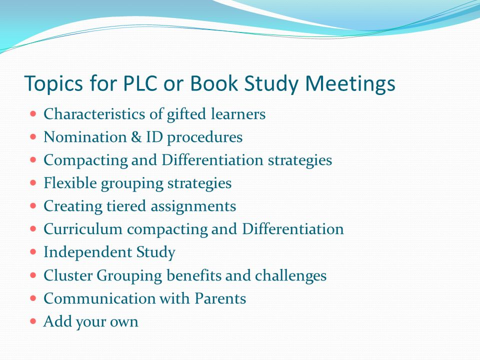 Topics for PLC or Book Study Meetings