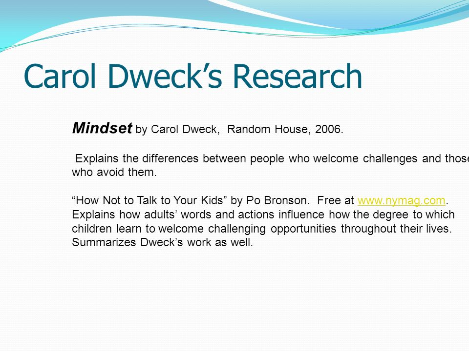 Carol Dweck's Research