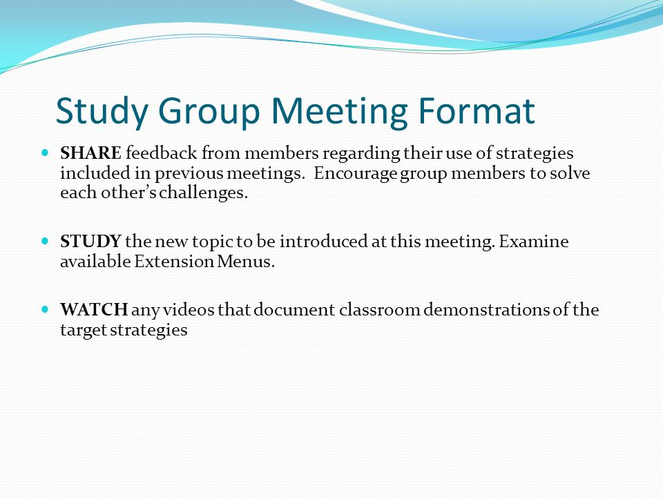 Study Group Meeting Format