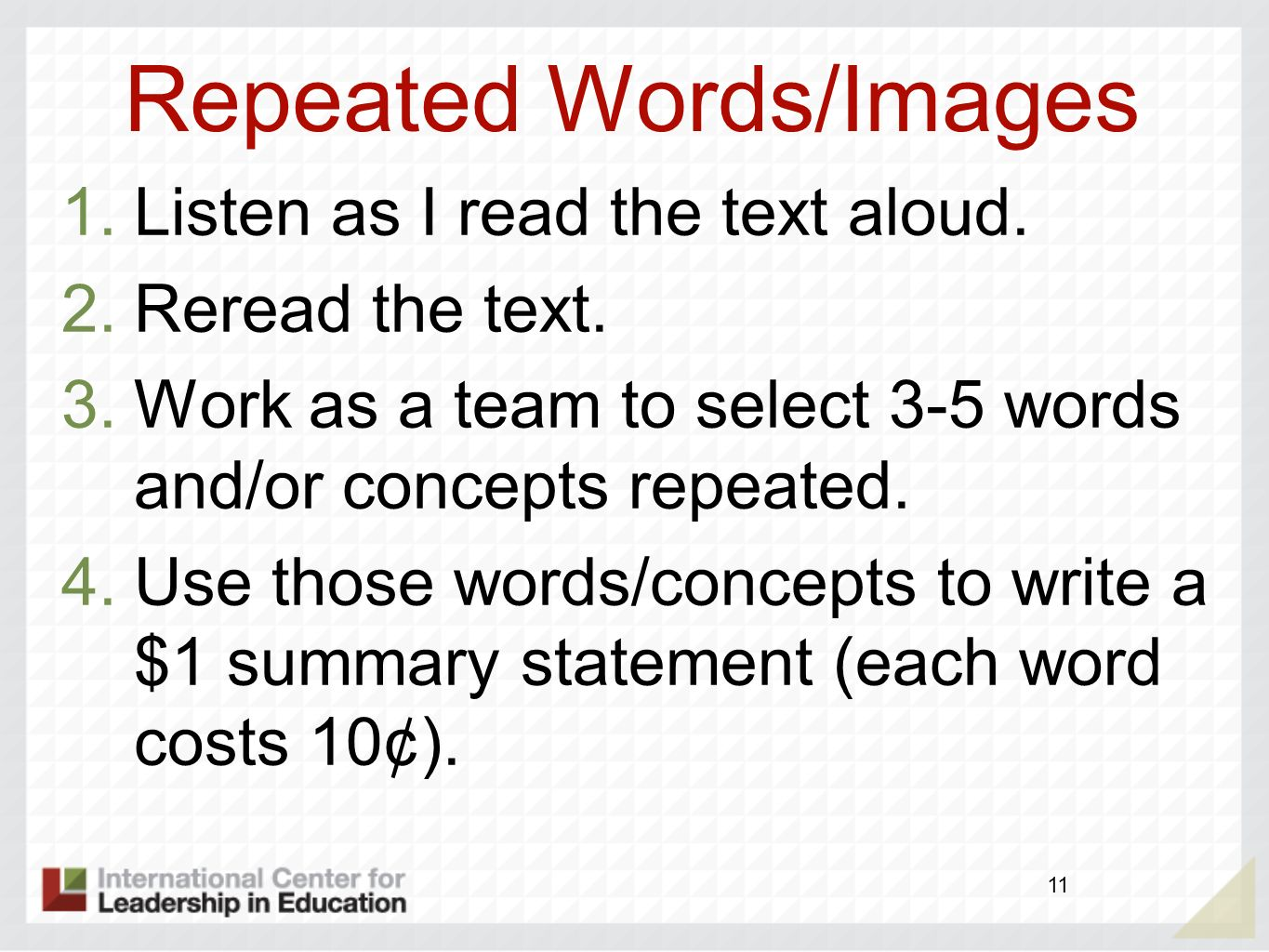 Repeated Words/Images