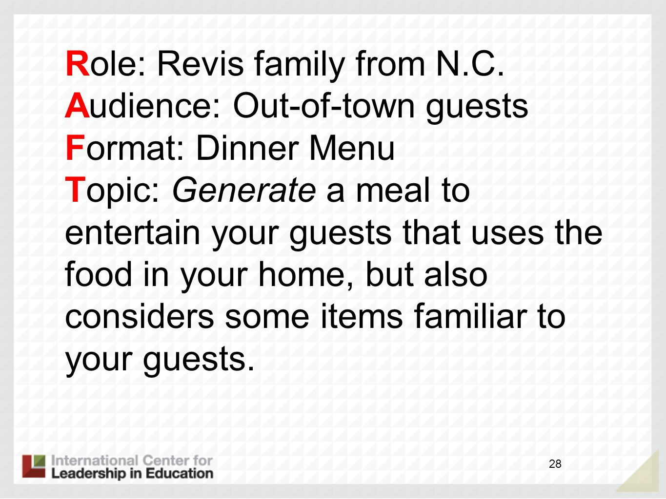 Role: Revis family from N.C.