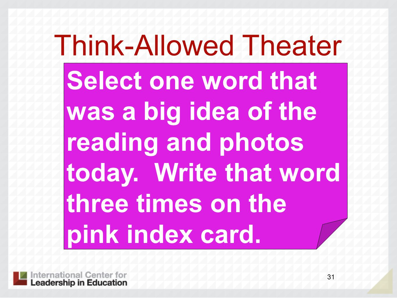 Think-Allowed Theater