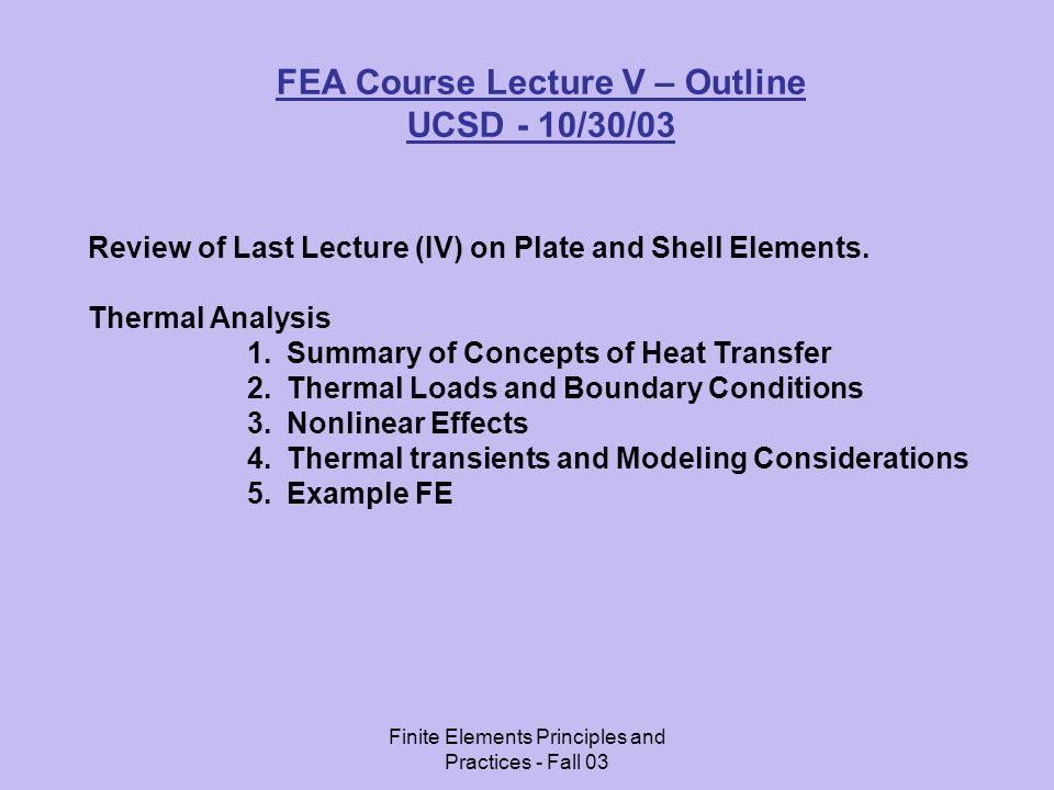 FEA Course Lecture V – Outline