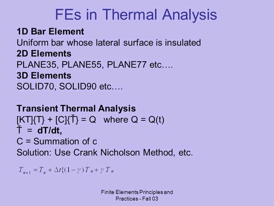 FEs in Thermal Analysis