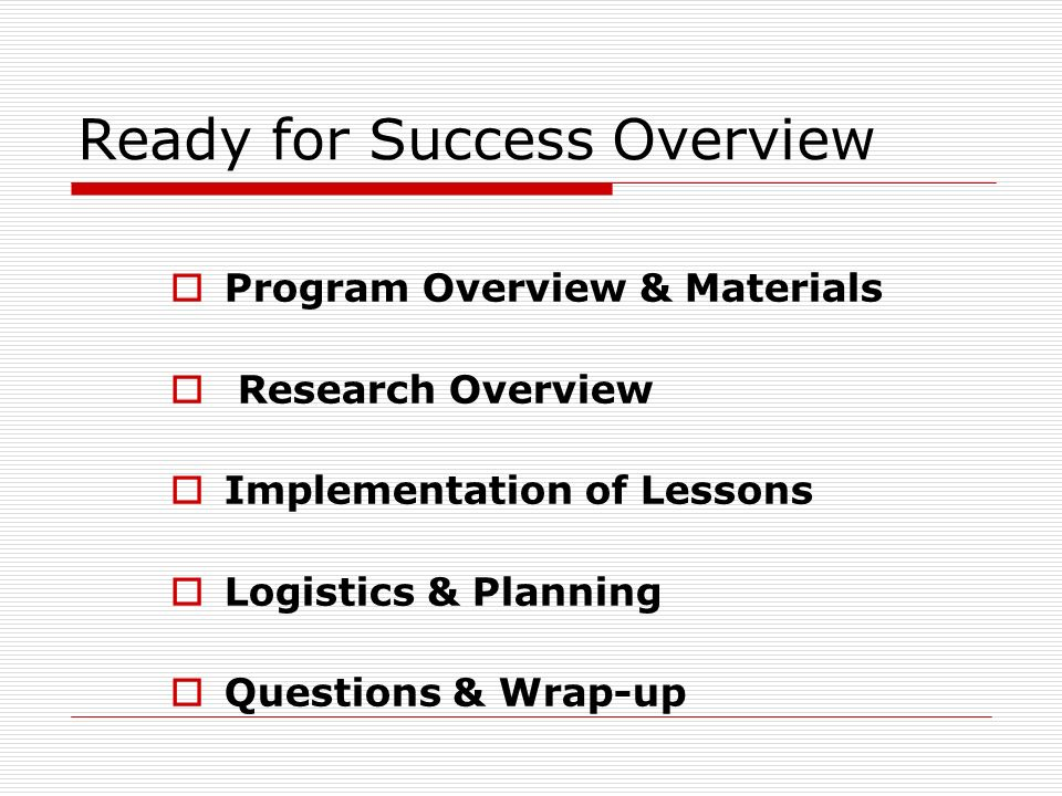 Ready for Success Overview