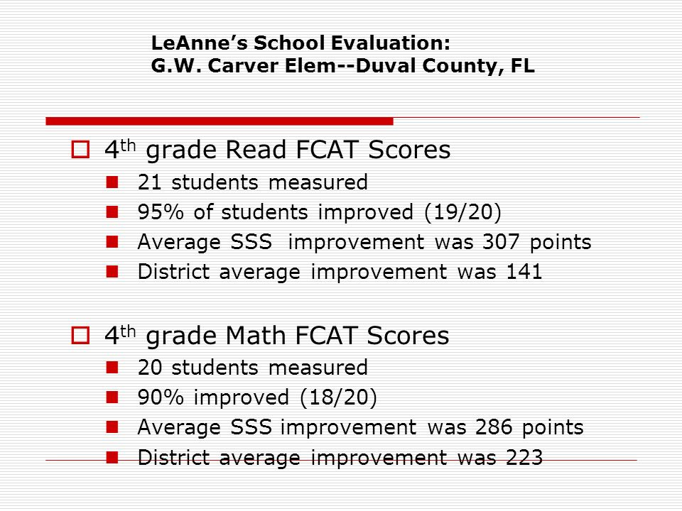 LeAnne's School Evaluation: G.W. Carver Elem--Duval County, FL