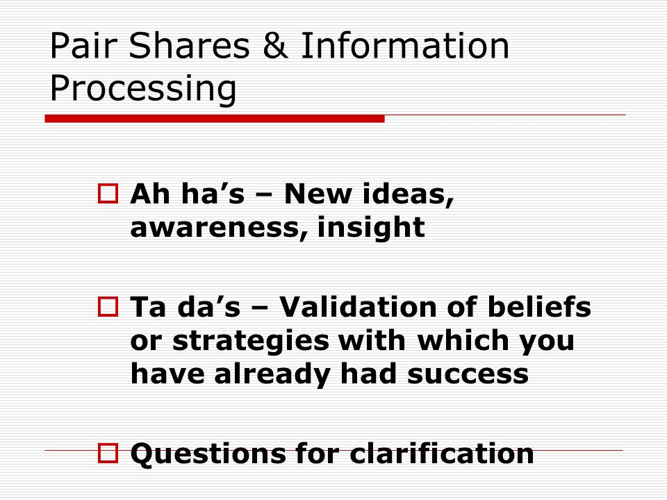 Pair Shares & Information Processing
