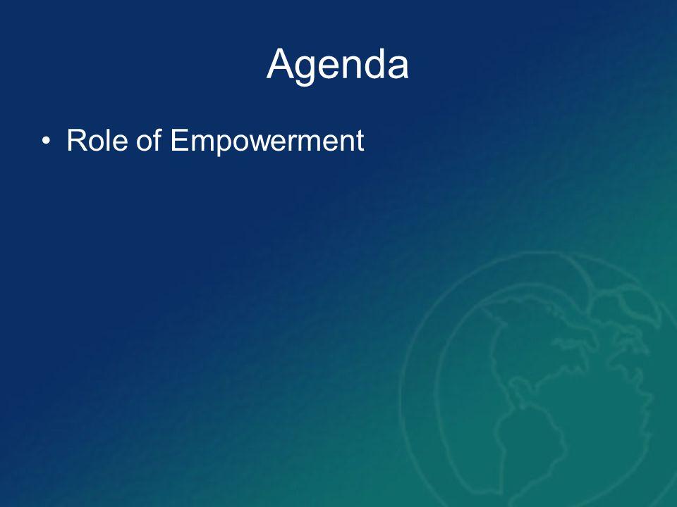 Agenda Role of Empowerment