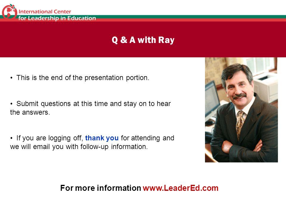 For more information www.LeaderEd.com