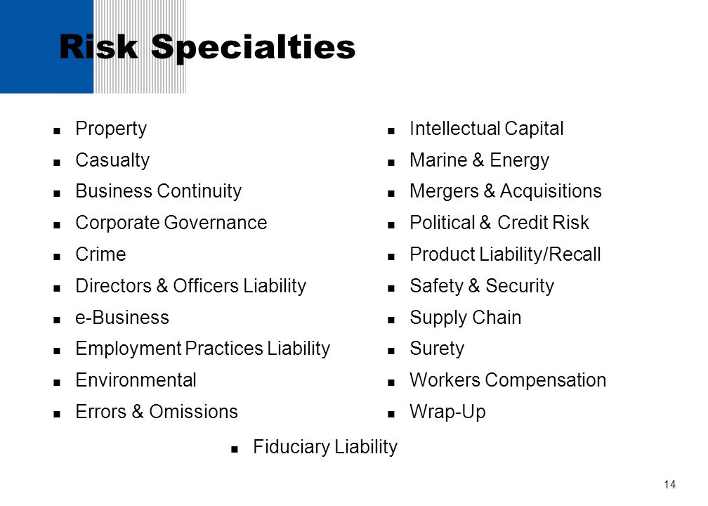 Risk Specialties Property Casualty Business Continuity