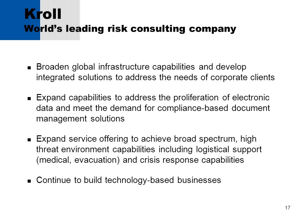 Kroll World's leading risk consulting company