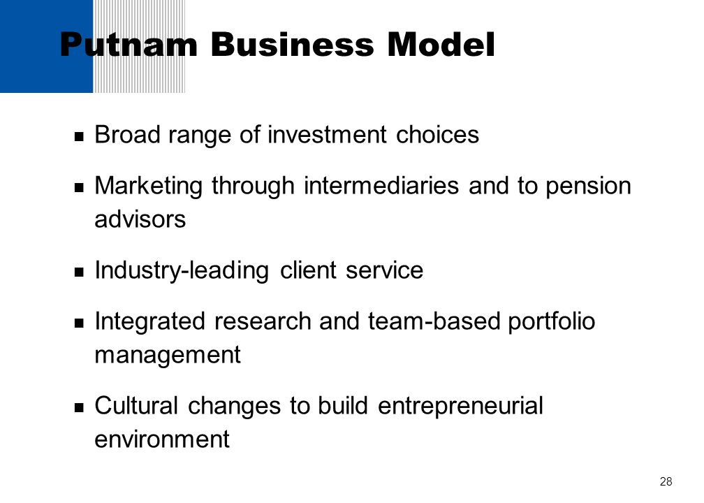 Putnam Business Model Broad range of investment choices