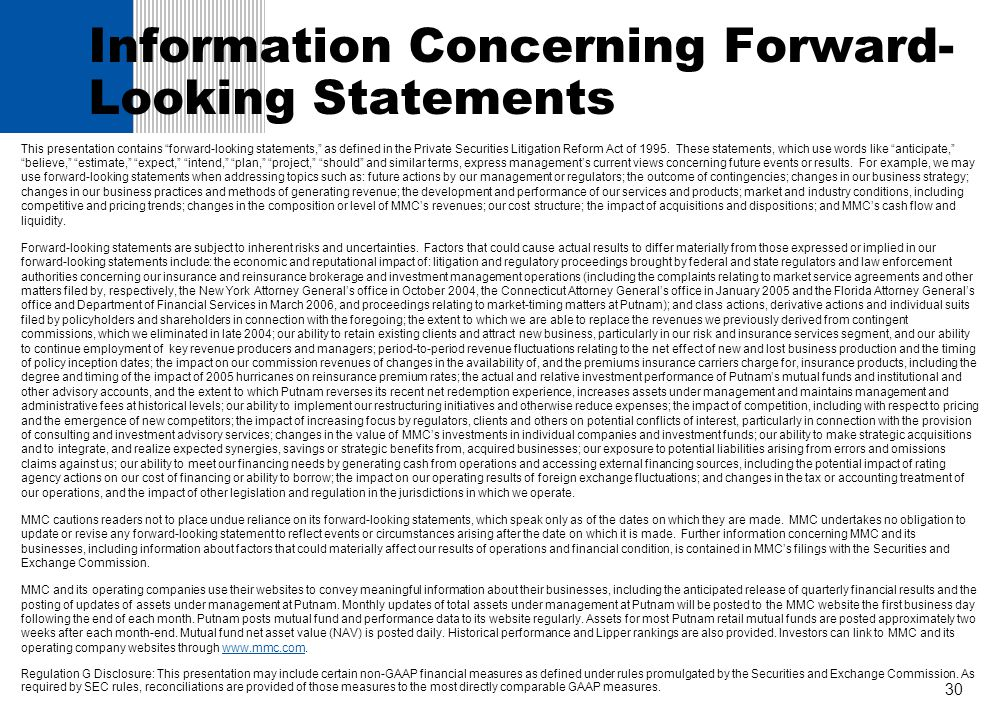 Information Concerning Forward-Looking Statements