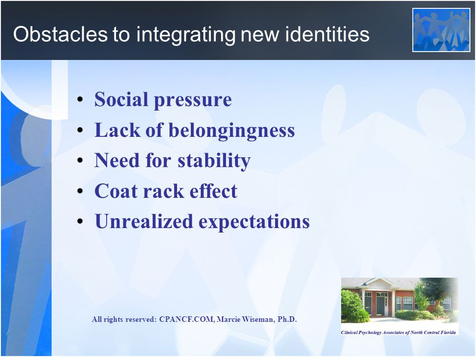 Obstacles to integrating new identities