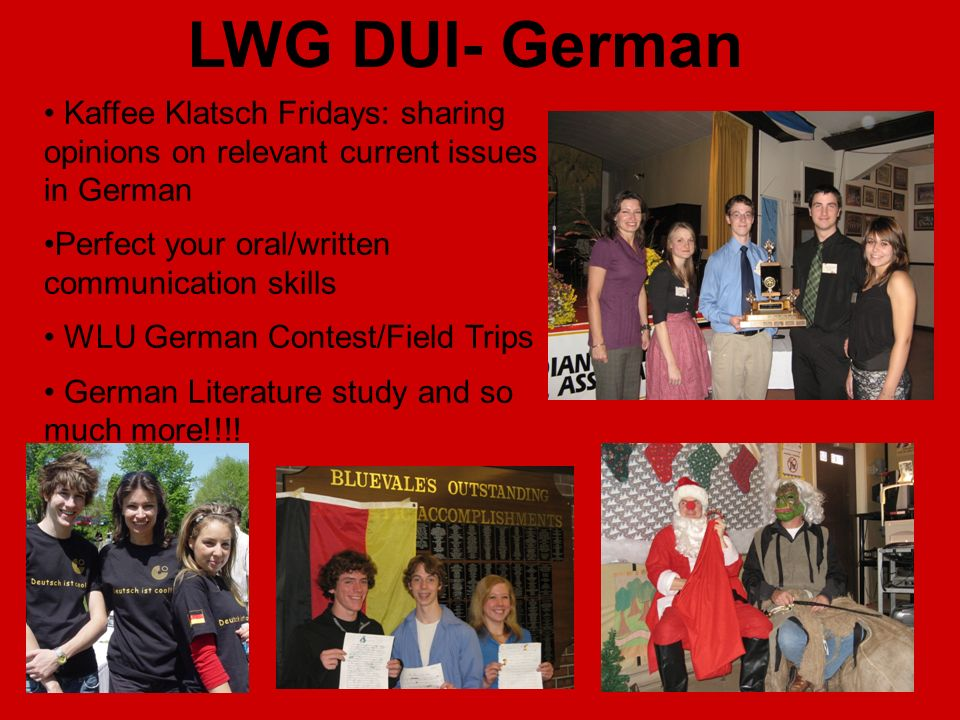 LWG DUI- German Kaffee Klatsch Fridays: sharing opinions on relevant current issues in German. Perfect your oral/written communication skills.