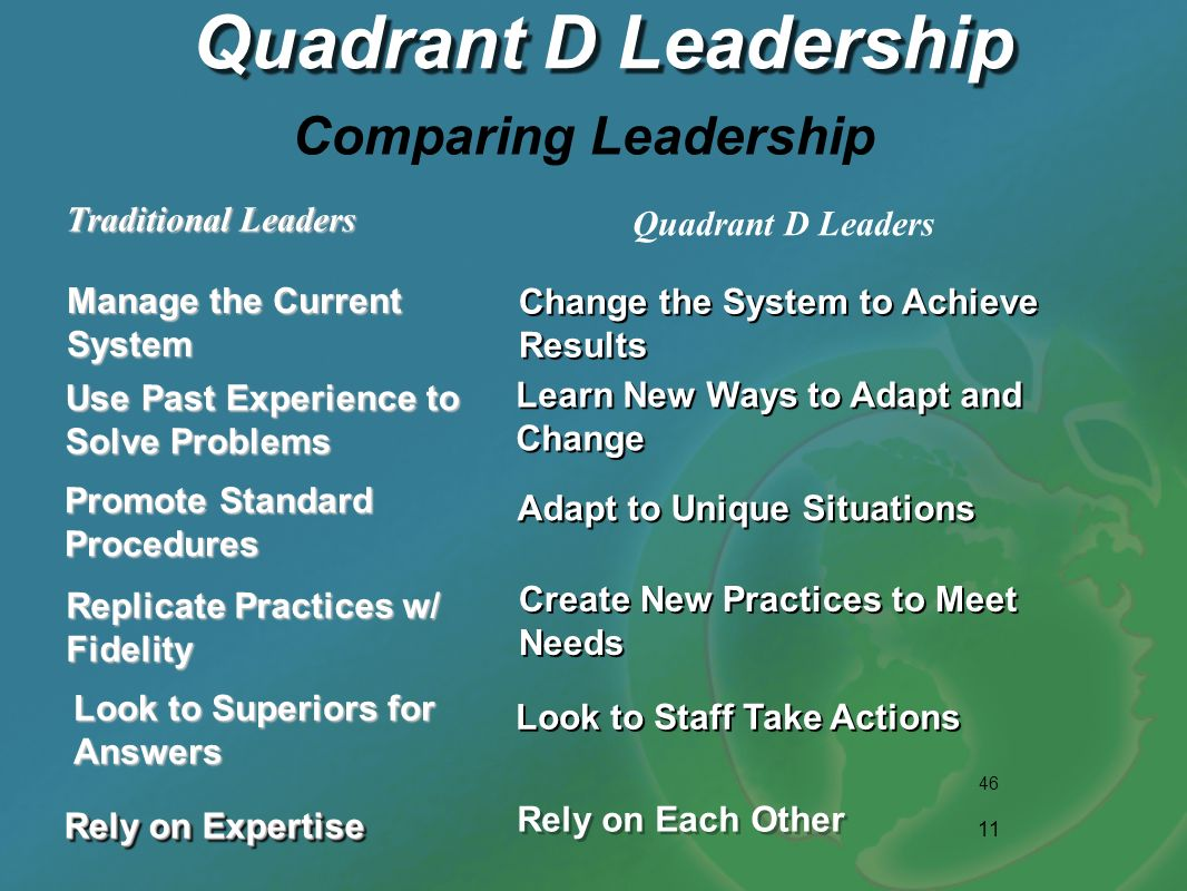 Quadrant D Leadership Comparing Leadership Traditional Leaders
