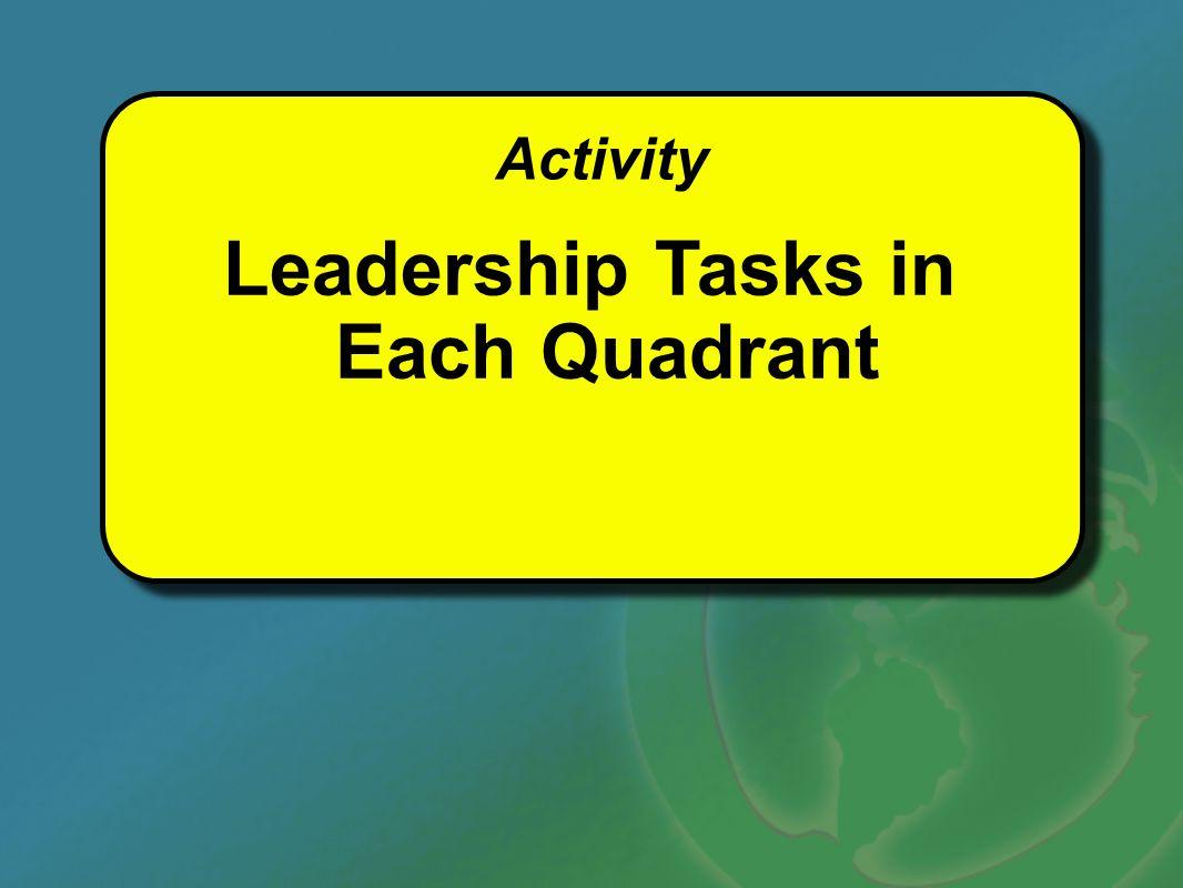 Leadership Tasks in Each Quadrant