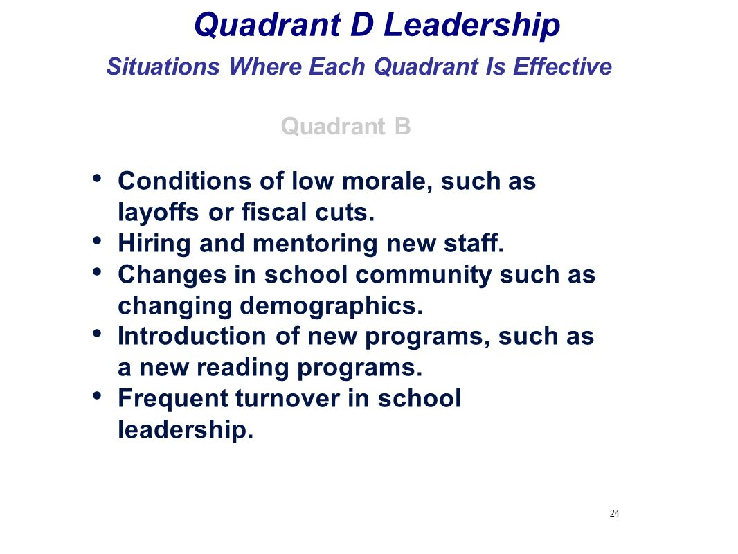 Situations Where Each Quadrant Is Effective