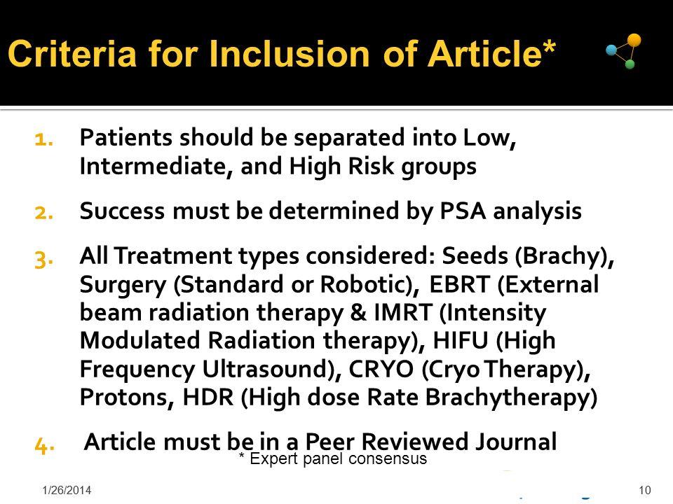 Criteria for Inclusion of Article*
