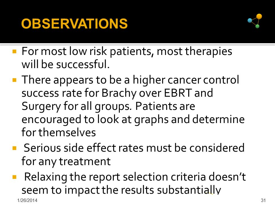 OBSERVATIONS For most low risk patients, most therapies will be successful.