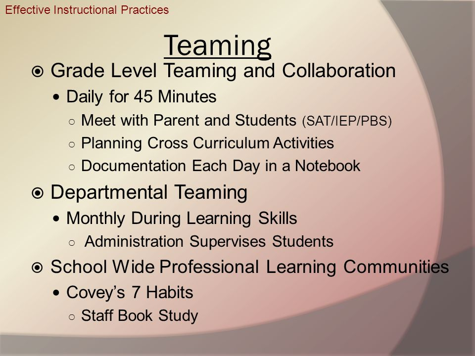 Teaming Grade Level Teaming and Collaboration Departmental Teaming