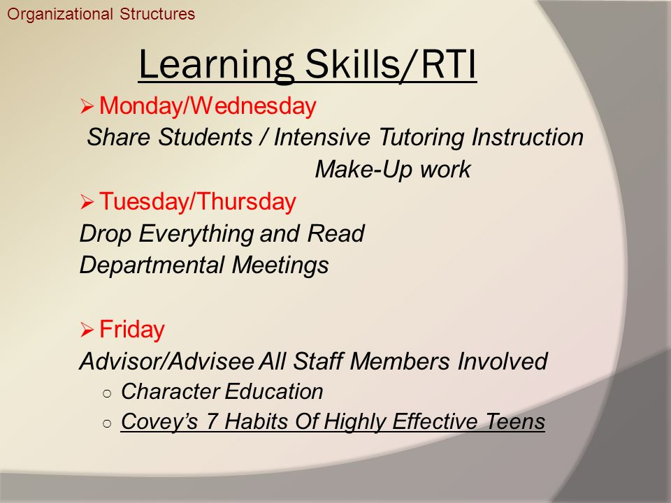 Learning Skills/RTI Monday/Wednesday