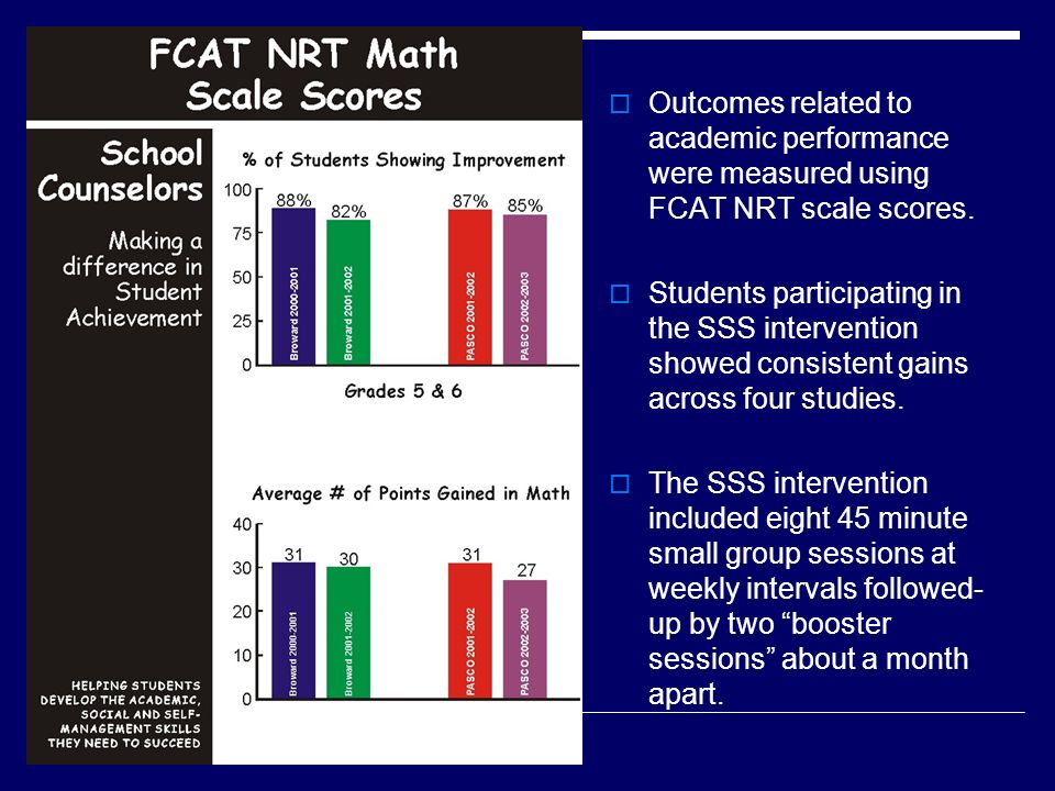 Outcomes related to academic performance were measured using FCAT NRT scale scores.