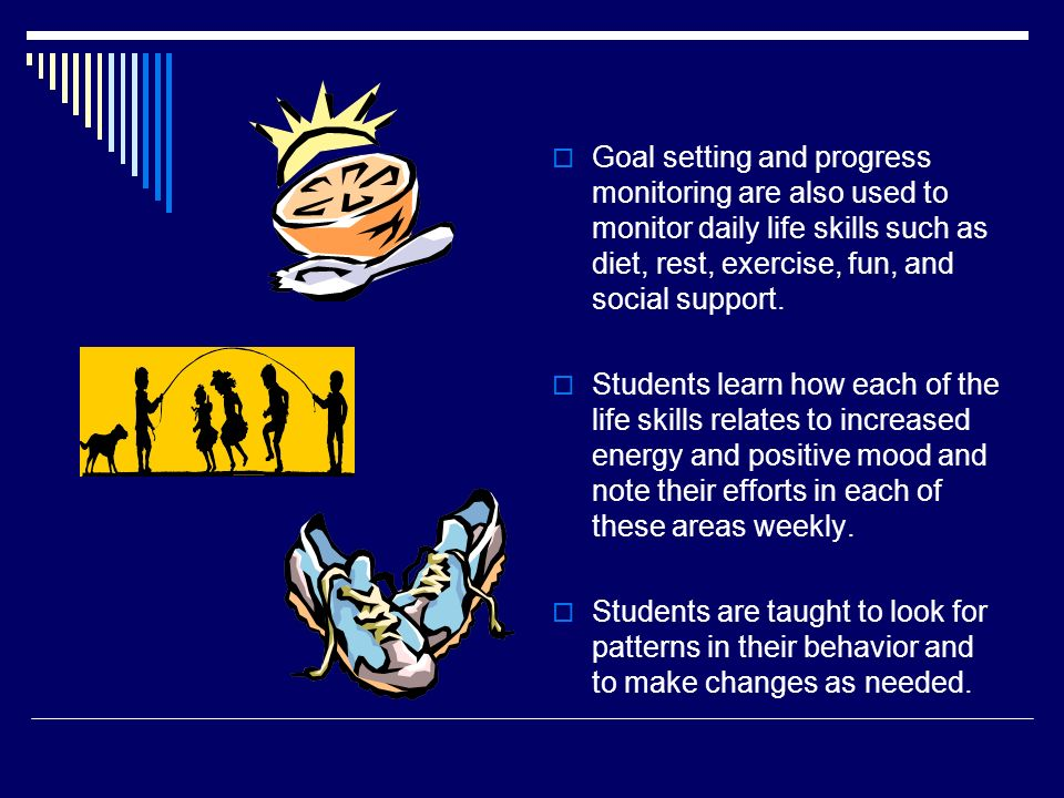 Goal setting and progress monitoring are also used to monitor daily life skills such as diet, rest, exercise, fun, and social support.