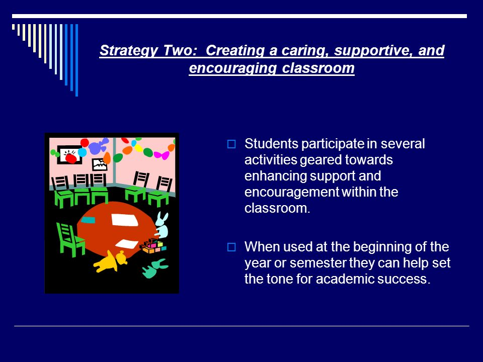 Strategy Two: Creating a caring, supportive, and encouraging classroom