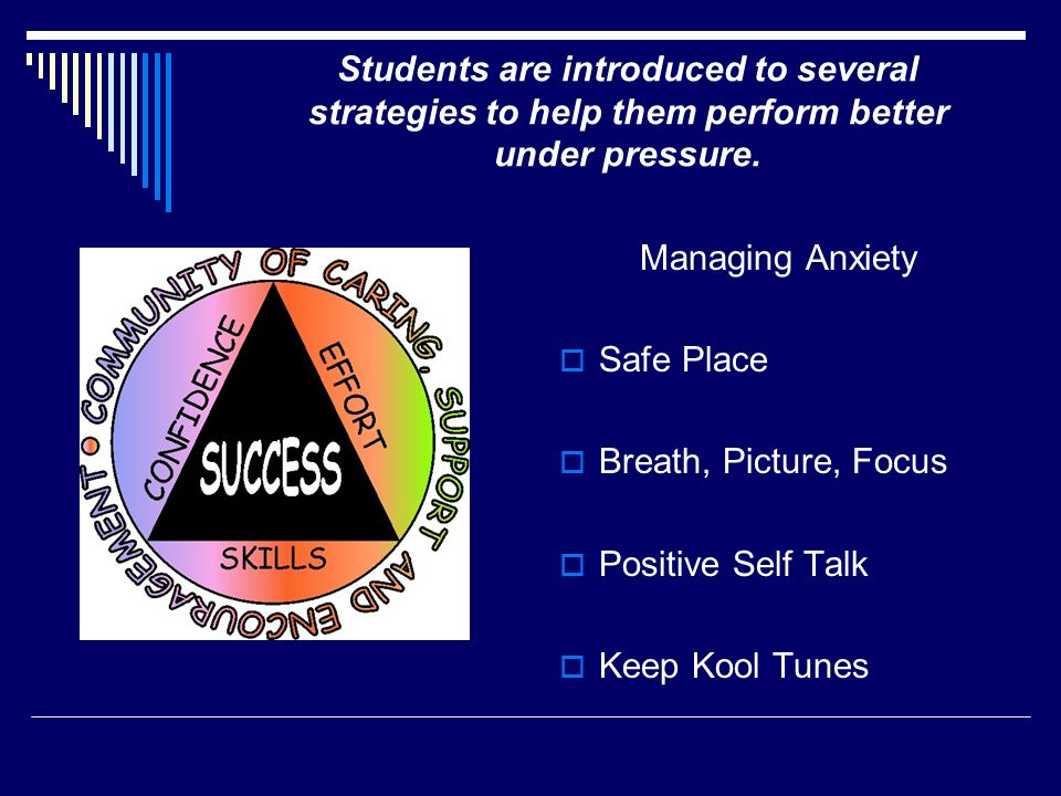 Students are introduced to several strategies to help them perform better under pressure.