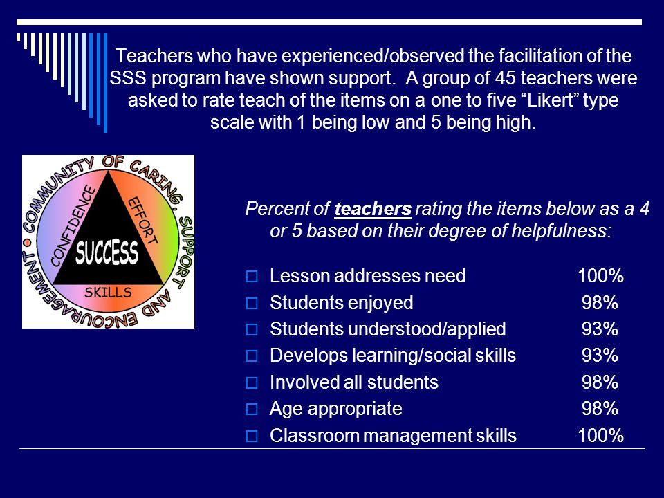 Lesson addresses need 100% Students enjoyed 98%