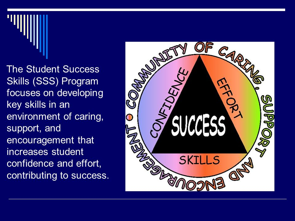 The Student Success Skills (SSS) Program focuses on developing key skills in an environment of caring, support, and encouragement that increases student confidence and effort, contributing to success.