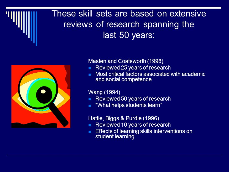 These skill sets are based on extensive reviews of research spanning the last 50 years: