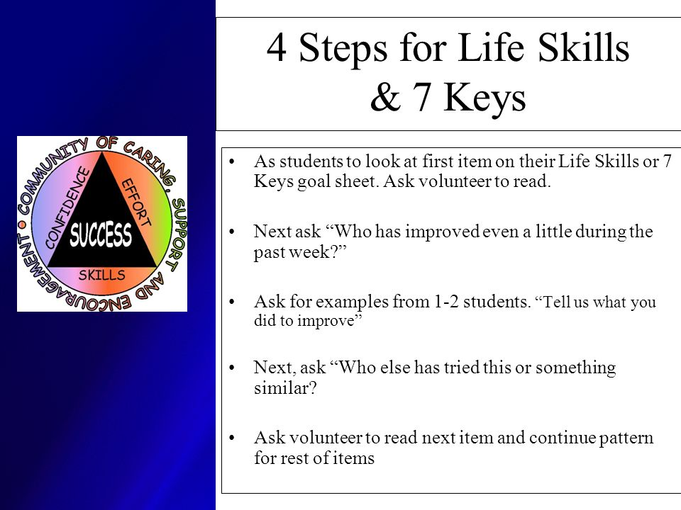 4 Steps for Life Skills & 7 Keys