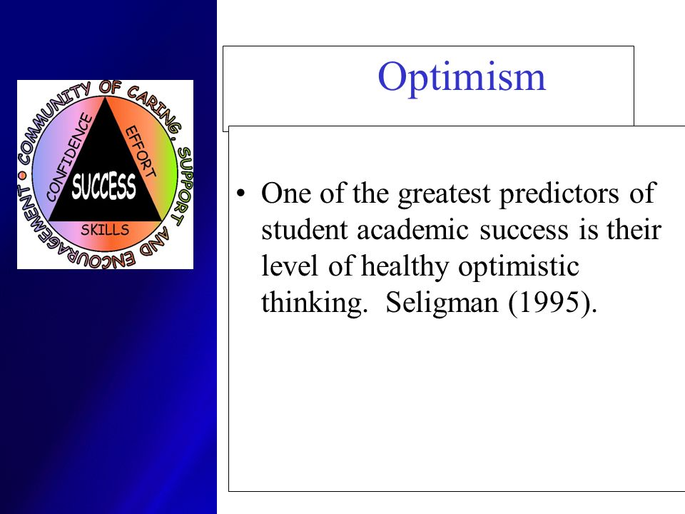 Optimism One of the greatest predictors of student academic success is their level of healthy optimistic thinking.