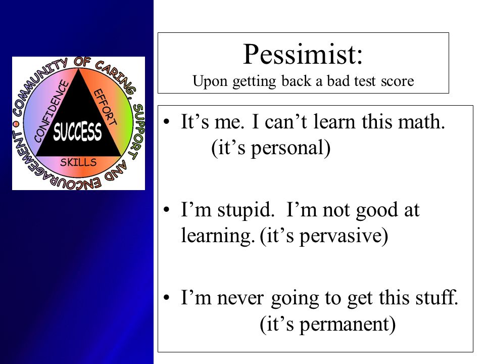 Pessimist: Upon getting back a bad test score