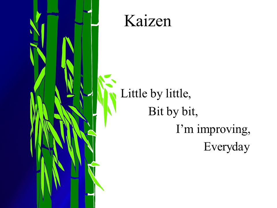 Kaizen Little by little, Bit by bit, I'm improving, Everyday