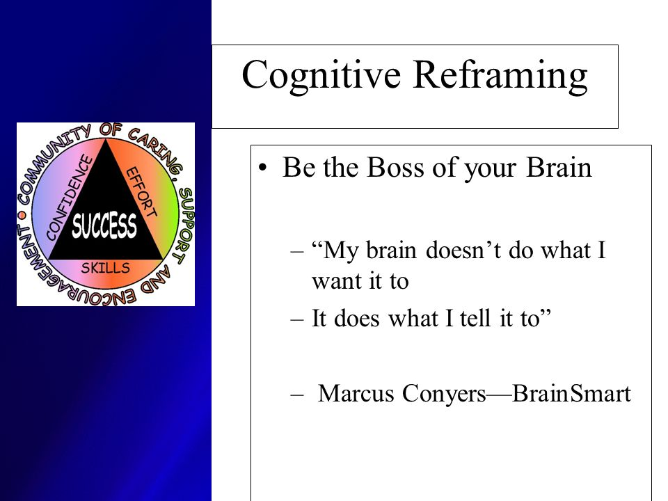 Cognitive Reframing Be the Boss of your Brain