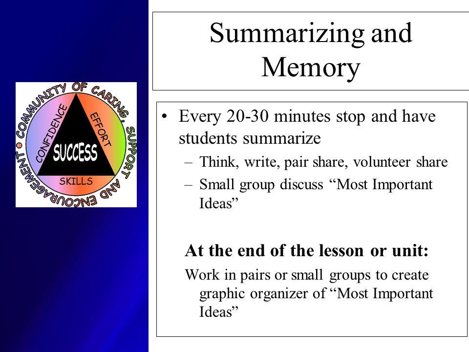 Summarizing and Memory