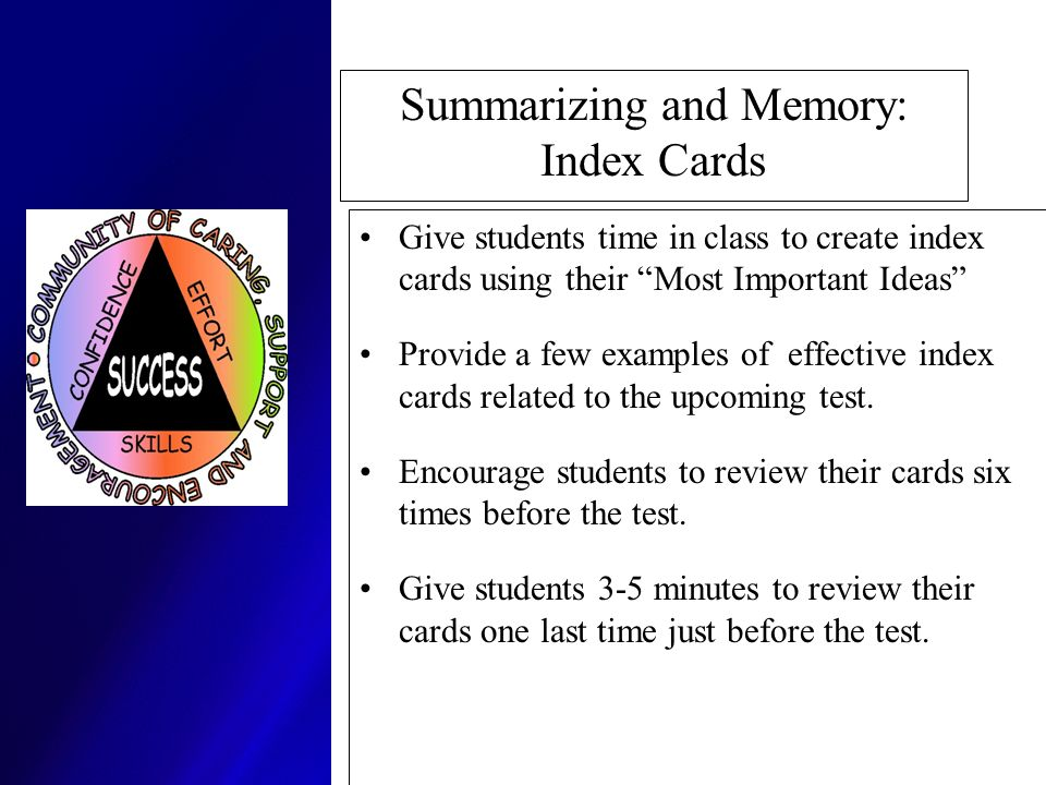 Summarizing and Memory: Index Cards