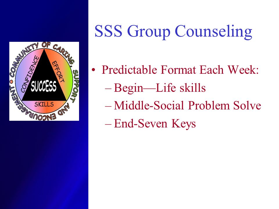 SSS Group Counseling Predictable Format Each Week: Begin—Life skills