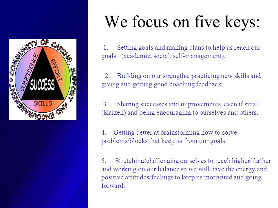 We focus on five keys: 1. Setting goals and making plans to help us reach our goals (academic, social, self-management).