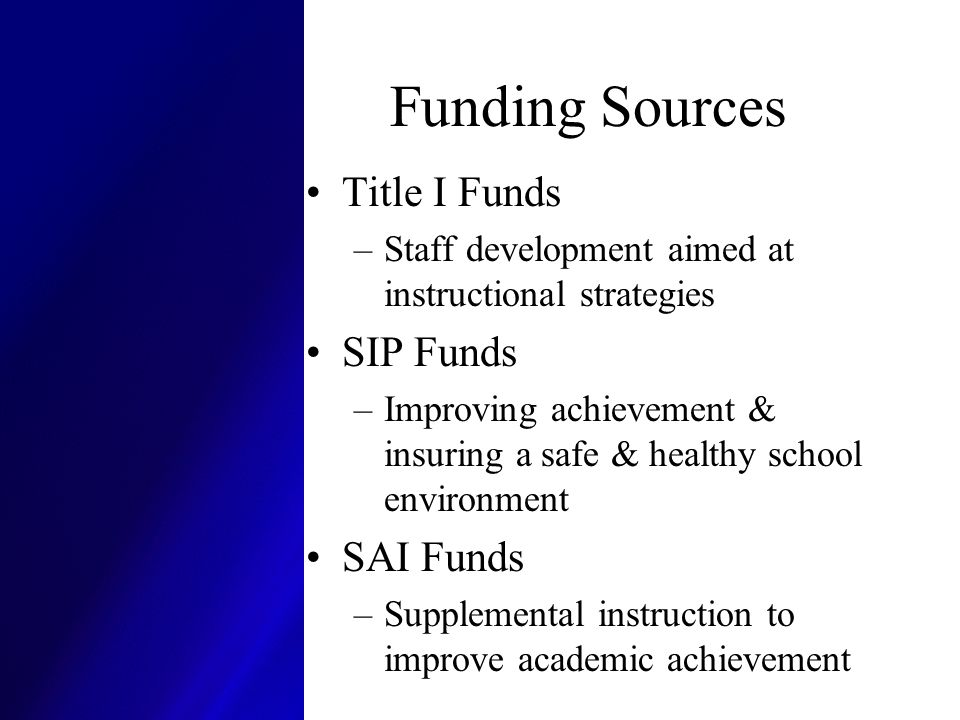 Funding Sources Title I Funds SIP Funds SAI Funds