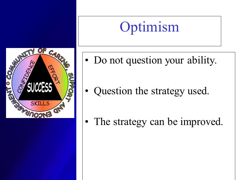 Optimism Do not question your ability. Question the strategy used.