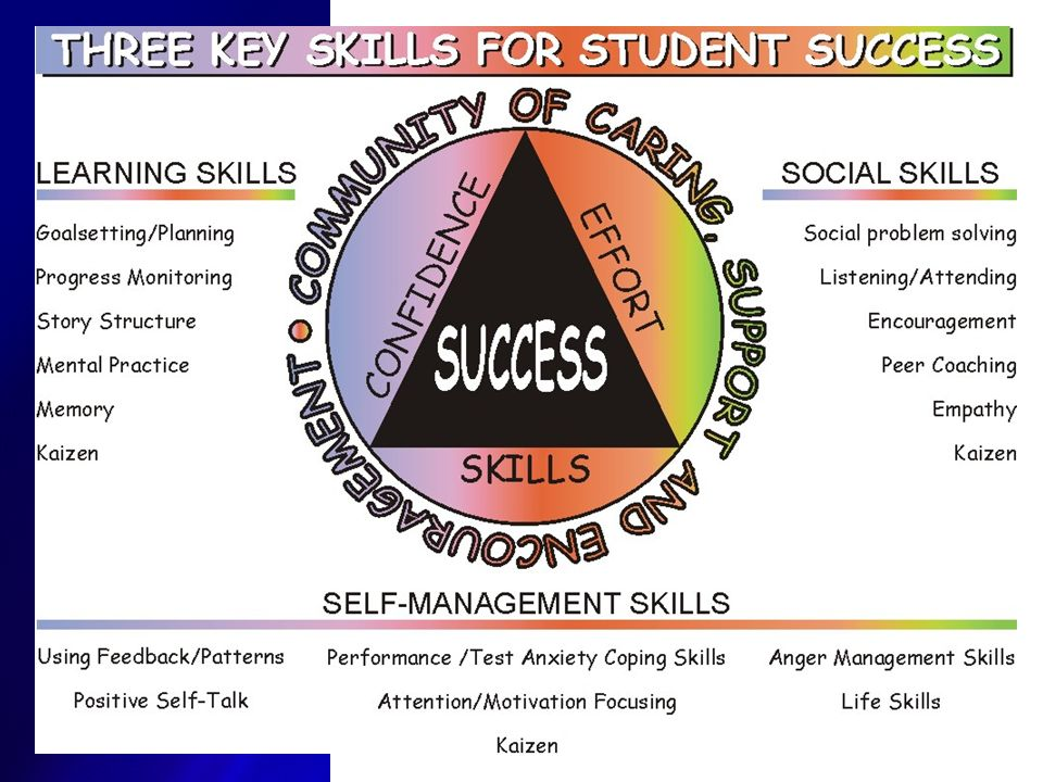 All five extensive reviews found similar sets of skills contributing to academic success. These fundamental skills are the foundation for the Student Success Skills Program.