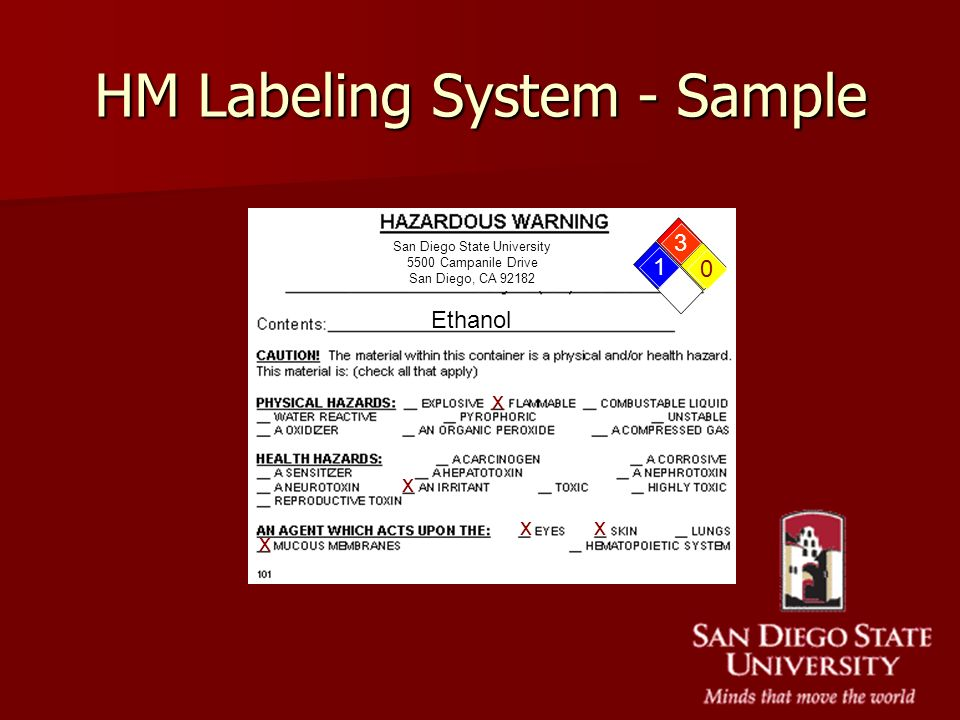 HM Labeling System - Sample