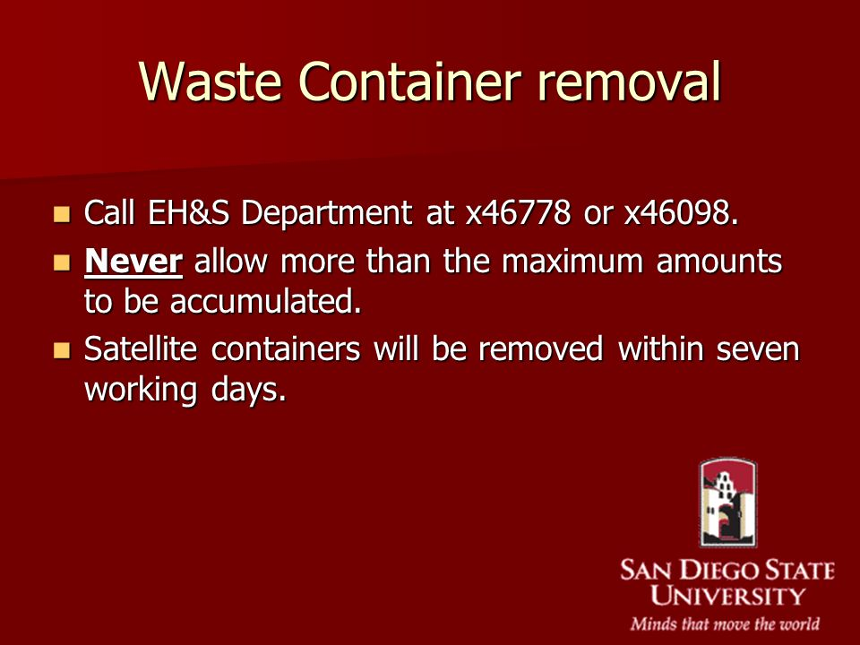 Waste Container removal