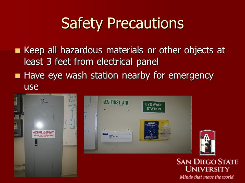 Safety Precautions Keep all hazardous materials or other objects at least 3 feet from electrical panel.
